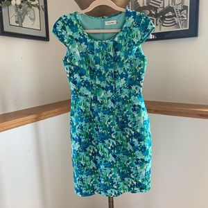 Calvin Klein Floral Green/Blue Dress